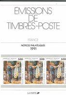 France, Notices Philatéliques Année 1991, 47 Fiches - Timbres
