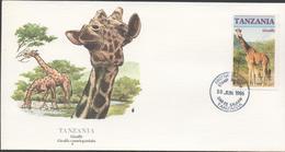 3458 Sobre Tanzania 1986, Jirafa, Giraffe, Al Dorso Explicacion - Giraffe