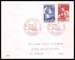 481 France Lettre (cover) Croix Rouge (red Cross) N° 1700 / 1701 Jeune Fille Au Chien / Oiseau Mort - Cruz Roja