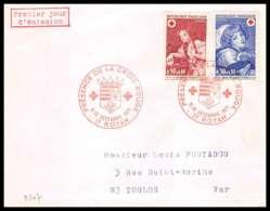 482 France Lettre (cover) Croix Rouge (red Cross) N° 1700 / 1701 Jeune Fille Au Chien / Oiseau Mort - Cruz Roja