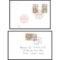 490 France Lettre (cover) Croix Rouge (red Cross) N° 2024 / 2025 LA FONTAINE FABLES - Cruz Roja