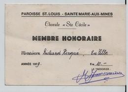 Carte De Membre, Chorale Ste Cécile, Sainte Marie Aux Mines - Documenti Storici