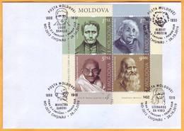 2019 Moldova Moldavie Sheet  Leonardo Da Vinci, Louis Braille, Albert Einstein, Mahatma Handhi  . - Mahatma Gandhi