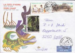 Cote D'Ivoire ABIDJAN 1989 Cover Lettre LYSS Suisse Crocodile Cachet Survie De L'Enfant Plantes Buttefly Papillon Vignet - Côte D'Ivoire (1960-...)
