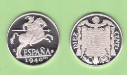 """ESPAÑA FRANCO ESTADO ESPAÑOL 10 CÉNTIMOS 1.940 """"JINETE IBÉRICO""""   PLATA / SILVER PROOF  SC/UNC  T-DL-12.333 - 10 Céntimos"""