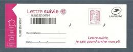France, Autoadhésif, Adhésif, 1515A, LS 5, Neuf **, TTB, Marianne De Ciappa Et Kawena, Lettre Suivie 20g, Rose Carminé - Adhésifs (autocollants)