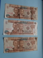 3 X 10 Sampung Piso ( EV421995 / QR648065 / TN217007 ) ( For Grade, Please See Photo ) ! - Philippines