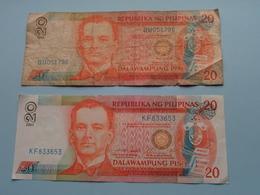 2 X 20 Dalawampung Piso ( KF833653 / BU051796 ) ( For Grade, Please See Photo ) ! - Filipinas