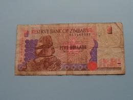 5 - FIVE DOLLARS ( BC7668948 ) Reserve Bank Of Zimbabwe ( For Grade, Please See Photo ) ! - Zimbabwe