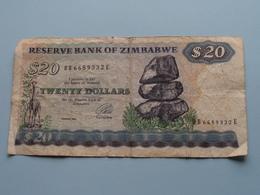 20 - TWENTY DOLLARS ( DB6689332E ) Reserve Bank Of Zimbabwe ( For Grade, Please See Photo ) ! - Zimbabwe