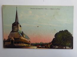 C. P. A. Couleur :  18 BRINON SUR SAULDRE : L'Eglise Et La Place - Brinon-sur-Sauldre