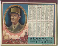 CALENDRIER ALMANACH DES POSTES 1946 GENERAL LECLERC STRASBOURG /FREE SHIPPING REGISTERED - Tamaño Grande : 1941-60