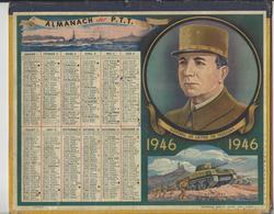 CALENDRIER ALMANACH DES POSTES 1946 GENERAL DE LATTRE DE TASSIGNY /FREE SHIPPING REGISTERED - Calendriers