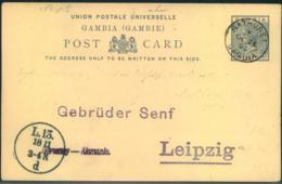"1895, 1 1/2 Penny Stationery Card Addressed To ""Gebrüder Senf, Leizpzig"" From BATHURST - Gambia (...-1964)"