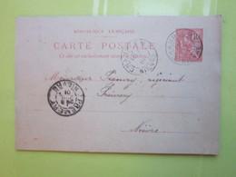 Carte Postale,Timbre Entier Type MOUCHON 10cts Oblitérée Champlemy & Prémery (58) Le 7/07/1901 - Entiers Postaux
