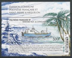 Polynésie Française 2019 - Emission Commune Avec Saint-Pierre Et Miquelon : Bateau Hawaiki Nui Ex-Langlage - Blokken & Velletjes