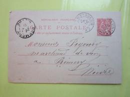 Carte Postale,Timbre Entier Type MOUCHON 10cts Oblitérée Champlemy & Prémery (58) Le 10/10/1901 - Entiers Postaux