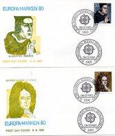 "BRD 2 Schmuck-FDC ""Europa 1980"" Mi.1049/50  ESSt BONN 1, 8.5.1980 - FDC: Covers"