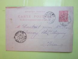 Carte Postale,Timbre Entier Type MOUCHON 10cts Oblitérée Champlemy & Prémery (58) Le 27/01/1901 - Entiers Postaux