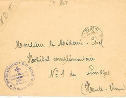 71-cachet Hopital Aux. N°9 Le Creusot Sur Devant De Lettre En 14/18 - Marcofilia (sobres)