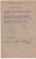 WW2 - Message Du Maire De Trun (Orne) Au Maire De Villedieu-lès-Bailleul (Orne) Daté Du 20 Juin 1944 - Documenti Storici