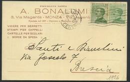 1926 Italia, Cartolina Intestata Ditta Bonallumi Di Monza Spedita A Brescia - 1900-44 Vittorio Emanuele III