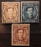 ESPANA SPAIN ESPAGNE, Alfonso XII 1876, 3 Timbres , Yvert No 163 Avec VARIETE,164, 166 ,  Neufs * MH,  TB - Ungebraucht