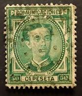 ESPANA SPAIN ESPAGNE, Alfonso XII 1876  , Yvert No 168,'50 C Vert  , Obl   TB - 1875-1882 Königreich: Alphonse XII.