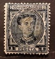 ESPANA SPAIN ESPAGNE, Alfonso XII 1876  , Yvert No 169 , 1 Peseta Bleu , Bon Centrage   , Obl   TB - 1875-1882 Königreich: Alphonse XII.