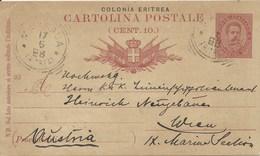 ERITREA - 1893 - CARTOLINA POSTALE DA CENT.10 - VIAGGIATA DA MASSAUA E DIRETTA IN AUSTRIA - - 1878-00 Umberto I