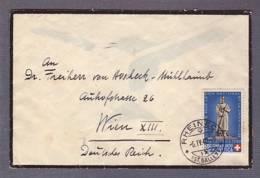 Lettre  Aff. ProPatria 1940  - Obl. Rheineck 06.04.1940 -> Wien XIII - Zensur/Censored/Censure E - Suiza