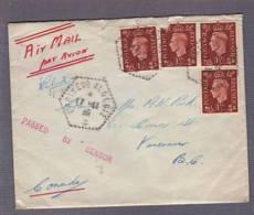 Lettre Par Avion Affr GB Obl. Croiseur Algérie 17.11.1939-> Vancouver BC - Zensur/Censored/Censure  Passed By Censor - Marcophilie (Lettres)