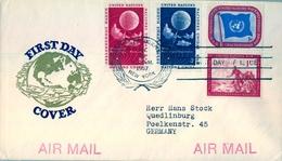 1957 , ONU , NACIONES UNIDAS , WORLD METEOROLOGICAL ORGANIZATION , SOBRE CIRCULADO A QUEDLINBURG , LLEGADA - New York - Sede De La Organización De Las NU