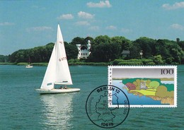 Germany Maximum Card 1995: Nature Protection; Havellandschaft Berlin; Sailing Tourism Sport Castle Architecture - Umweltschutz Und Klima