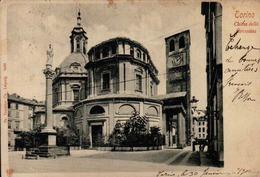 ITALIE - TORINO TURIN - EGLISE 1902 VOIR CACHET POSTAL FERROVIA - Churches