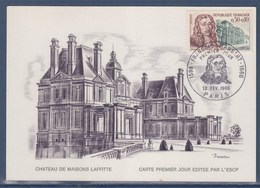 = Carte Postale 1er Jour François Mansart Château De Maisons Laffitte Paris 12 FEV 66 N°1471 - Cartes-Maximum