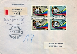 1981 , ONU , NACIONES UNIDAS - GINEBRA , SOBRE CIRCULADO A NIEDER - OLM - Ginebra - Oficina De Las Naciones Unidas