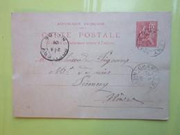 Carte Postale,Timbre Entier Type MOUCHON 10cts Oblitérée Champlemy & Prémery (58) Le 7/08/1901 - Enteros Postales