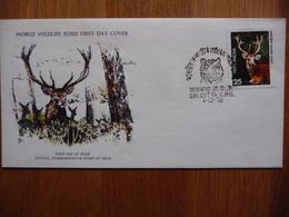 (2) INDIA *WWF * FDC SWAMP DEER 1976 SEE SCAN. - FDC