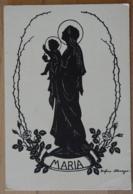 Schattenbild Scherenschnitt Maria Jesus Rosen Josefine Allmayer Schattenriss Schwarzbild Silhouette - Scherenschnitt - Silhouette