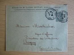 ENVELOPPE ETUDE DE ME LUCIEN MOYAT  CHALON-SUR-SAONE 1905 - Marcofilia (sobres)