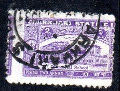 T1985 - CHARKHARI INDIA ,  2 Anna Esemplare Usato Con Dentellatura Spostata - Charkhari