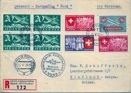 """1939 , SUIZA / SCHWEIZ , CERTIFICADO , ZÜRICH PTT PAVILLON - WINDISCH , SWISSAIR - EUROPAFLUG """" NORD """" , BIS WARSCHAU - Posta Aerea"""