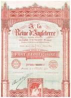 Titre Ancien - A La Reine D' Angleterre- Société Anonyme -Titre De 1924 - Déco - Actions & Titres