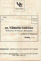 MM VILMORIN - ANDRIEUX - PRODUCTEUR DE GRAINES SELECTIONNEES - PARIS - Publicités