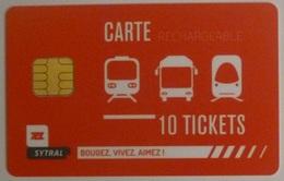 TCL Lyon (69/Rhône) - Carte 10 Tickets Rechargeable - Bus Tramway Métro - Carte Utilisée Pour Collection - Europe