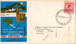 1965 , NUEVA ZELANDA , CHRISTCHURCH - SYDNEY , TASA , LLEGADA AL DORSO - Briefe U. Dokumente