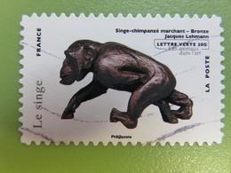 """Timbre France YT 782 AA - Les Animaux Dans L'art - Le Singe (""""Singe-chimpanzé Marchand"""" Bronze Jacques Lehmann) - 2013 - Francia"""