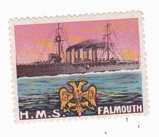 Vignette Militaire Delandre - Marine - H.M.S. Falmouth - Erinnofilia