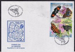 Uruguay - 2003 - FDC - Papillons De La Région - Schmetterlinge